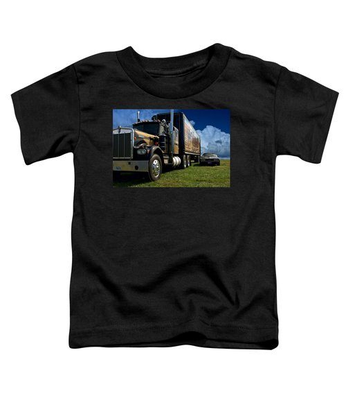Smokey And The Bandit Tribute 1973 Kenworth W900 Black And Gold Semi Truck And The Bandit Transam Toddler T-Shirt