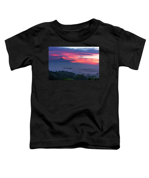 Smoking Volcano And Borobudur Temple Toddler T-Shirt