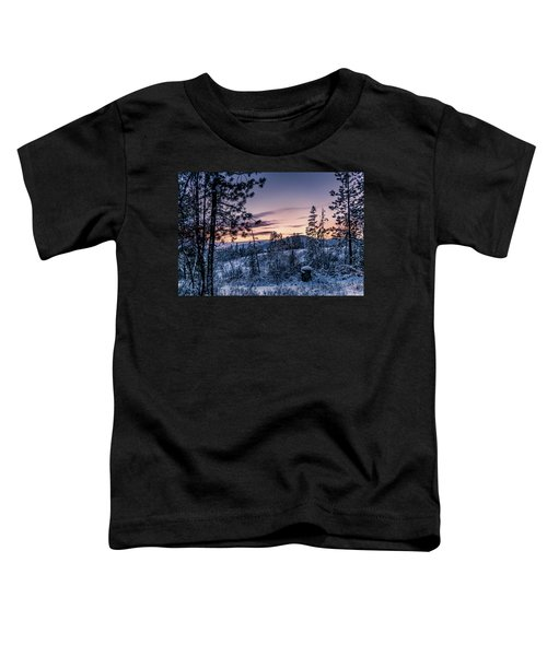Snow Coved Trees And Sunset Toddler T-Shirt