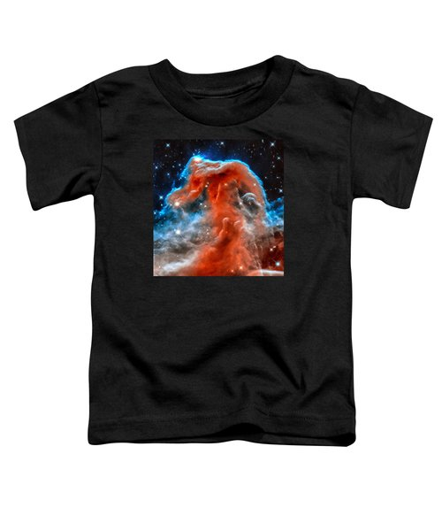 Space Image Horsehead Nebula Orange Red Blue Black Toddler T-Shirt by Matthias Hauser