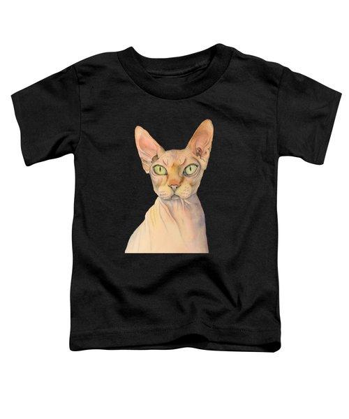 Sphynx Cat Watercolor Portrait Toddler T-Shirt