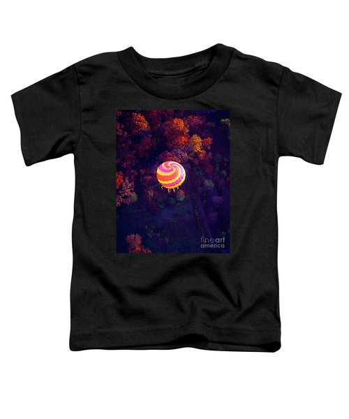 Spiral Colored Hot Air Balloon Over Fall Tree Tops Mchenry   Toddler T-Shirt