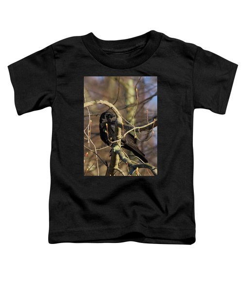 Toddler T-Shirt featuring the photograph Springtime Crow by Bill Wakeley