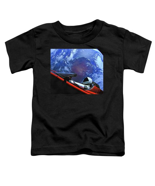 Starman In Tesla With Planet Earth Toddler T-Shirt