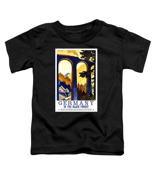 Steam Engine Train Passing Through A Tall Bridge In The German Black Forest - Vintage Travel Poster  Toddler T-Shirt