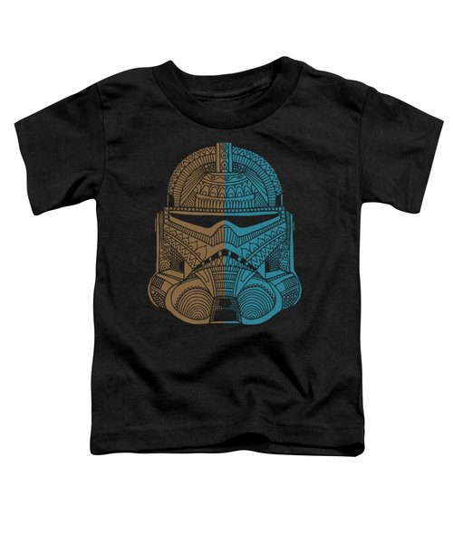 Stormtrooper Helmet - Star Wars Art - Brown Blue Toddler T-Shirt