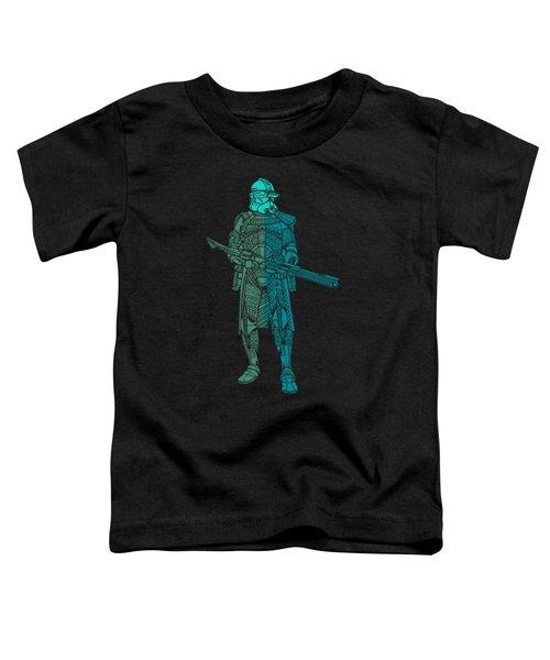 Stormtrooper Samurai - Star Wars Art - Blue, Navy, Teal Toddler T-Shirt