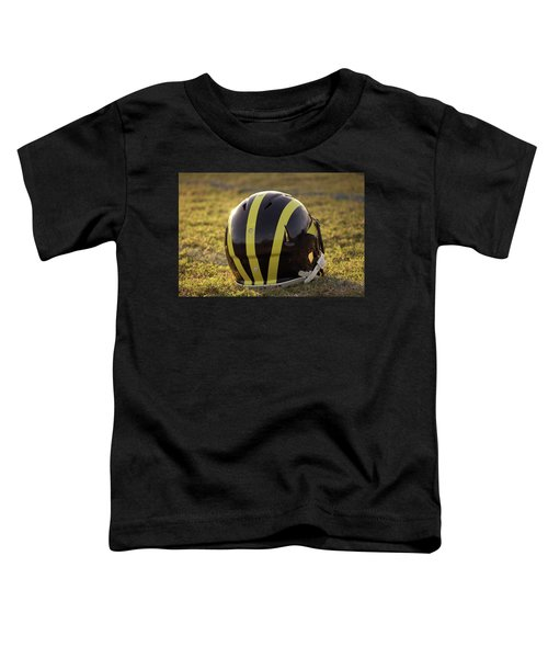Striped Wolverine Helmet On The Field At Dawn Toddler T-Shirt