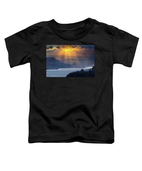 Sun Rays Over Columbia River Gorge During Sunrise Toddler T-Shirt