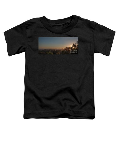 Sunset Behind Tree With Forest And Mountains In The Background Toddler T-Shirt