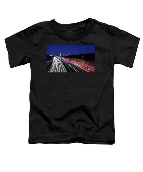 Super Moon And Dallas Texas Skyline Toddler T-Shirt