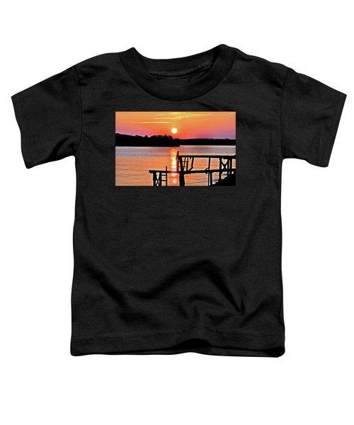 Surreal Smith Mountain Lake Dock Sunset Toddler T-Shirt