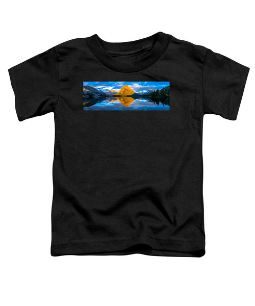 Toddler T-Shirt featuring the photograph Swiftcurrent Lake Sunrise Panorama by Dustin  LeFevre