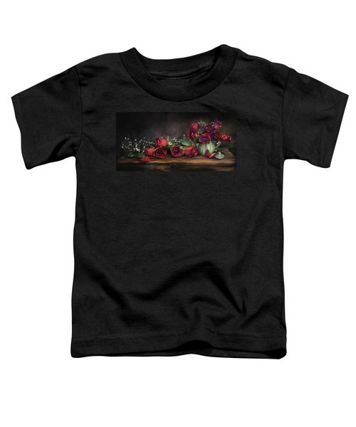 Toddler T-Shirt featuring the digital art Teapot Roses by Susan Kinney