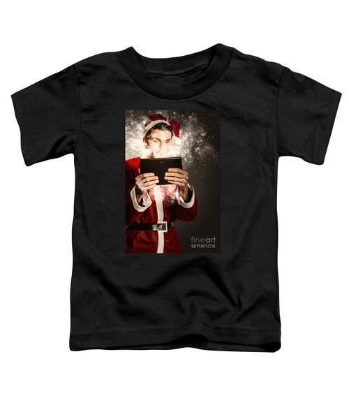 Tech Santa Browsing Online With Magical Tablet Toddler T-Shirt