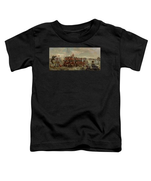 Toddler T-Shirt featuring the painting The 28th Regiment At Quatre Bras by Elizabeth Butler
