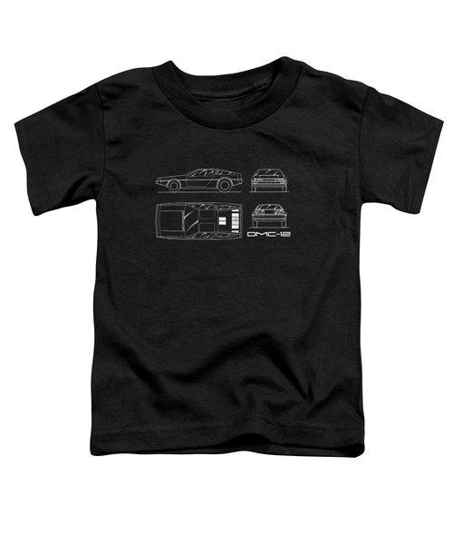 The Delorean Dmc-12 Blueprint Toddler T-Shirt by Mark Rogan
