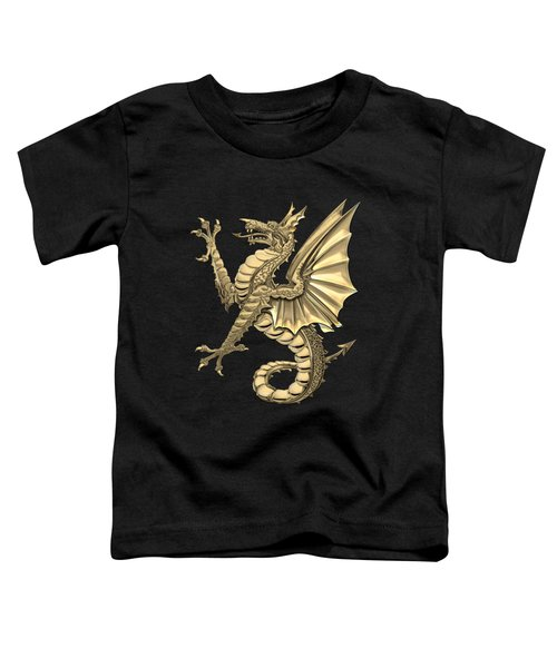The Great Dragon Spirits - Gold Sea Dragon Over Black Canvas Toddler T-Shirt
