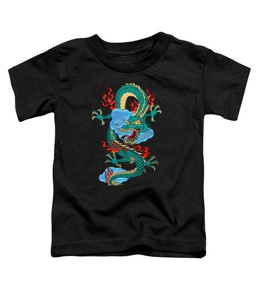 The Great Dragon Spirits - Turquoise Dragon On Black Silk Toddler T-Shirt by Serge Averbukh
