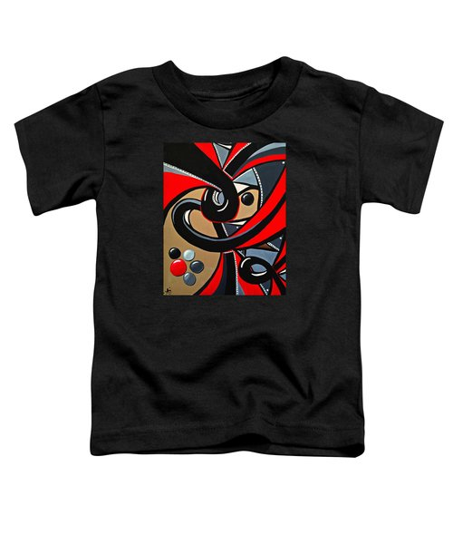 Red Black Abstract Art Painting, Swirl Acrylic Painting Toddler T-Shirt