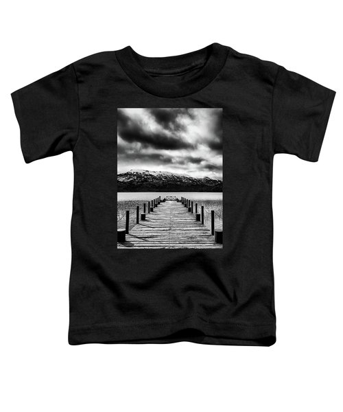 Landscape With Lake And Snowy Mountains In The Argentine Patagonia - Black And White Toddler T-Shirt