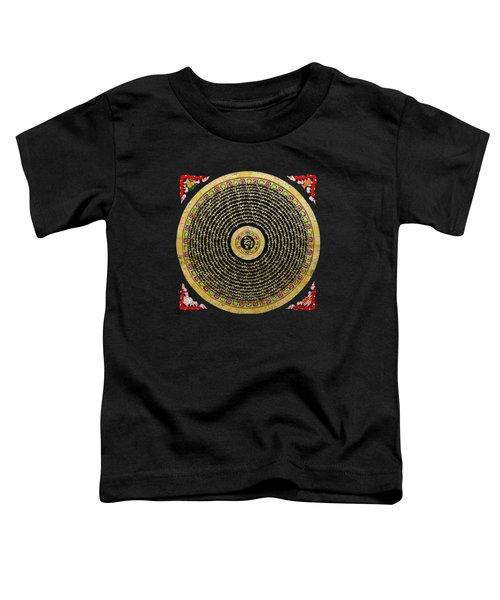 Tibetan Thangka - Om Mandala With Syllable Mantra Over Black Toddler T-Shirt