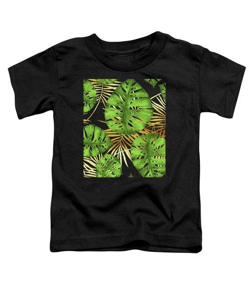 Tropical Haze Noir Green Monstera Leaves, Golden Palm Fronds On Black Toddler T-Shirt