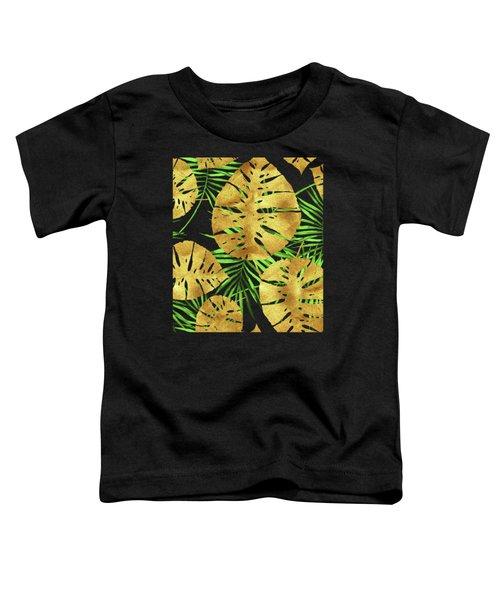 Tropical Haze Noir II Gold Monstera Leaves, Green Palm Fronds Toddler T-Shirt