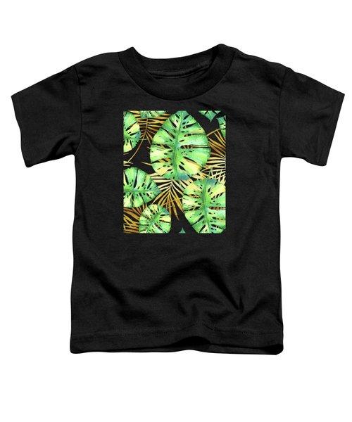 Tropical Haze Noir Variegated Monstera Leaves, Golden Palm Fronds On Black Toddler T-Shirt