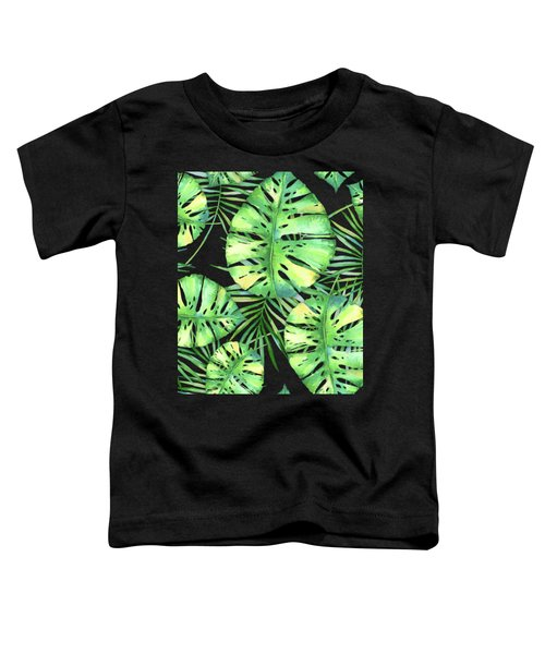 Tropics Noir, Tropical Monstera And Palm Leaves At Night Toddler T-Shirt