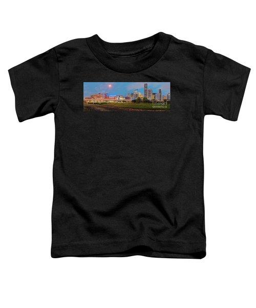 Twilight Panorama Of Downtown Houston Skyline And University Of Houston - Harris County Texas Toddler T-Shirt