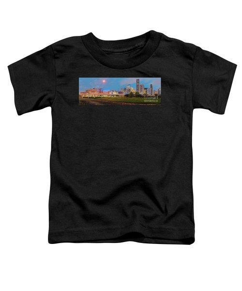 Twilight Panorama Of Downtown Houston Skyline And University Of Houston - Harris County Texas Toddler T-Shirt