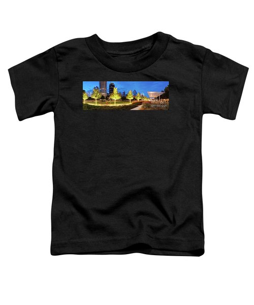 Twilight Panorama Of Klyde Warren Park And Downtown Dallas Skyline - North Texas Toddler T-Shirt