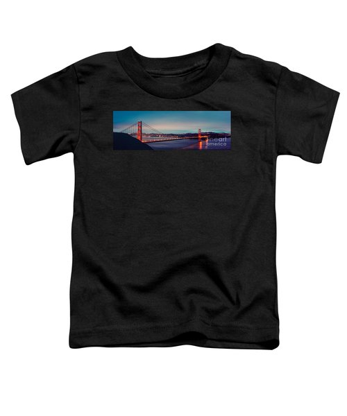 Twilight Panorama Of The Golden Gate Bridge From The Marin Headlands - San Francisco California Toddler T-Shirt