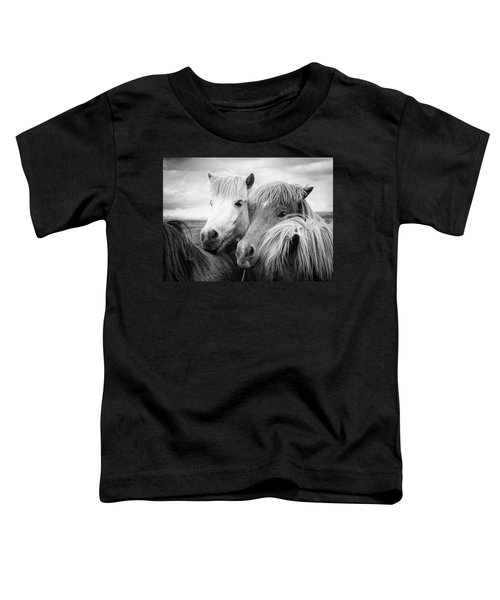Two Icelandic Horses Black And White Toddler T-Shirt