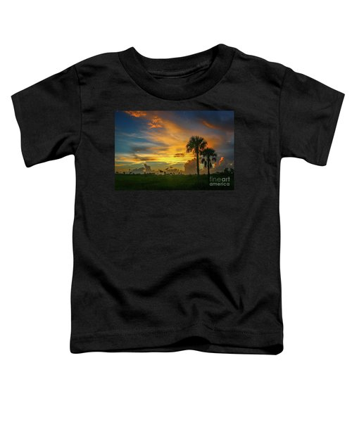 Two Palm Silhouette Sunrise Toddler T-Shirt