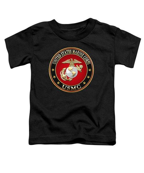 U S M C Eagle Globe And Anchor - E G A On Black Velvet Toddler T-Shirt