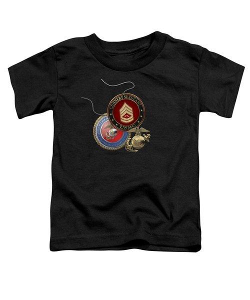 U. S. Marine Gunnery Sergeant Rank Insignia Over Black Velvet Toddler T-Shirt