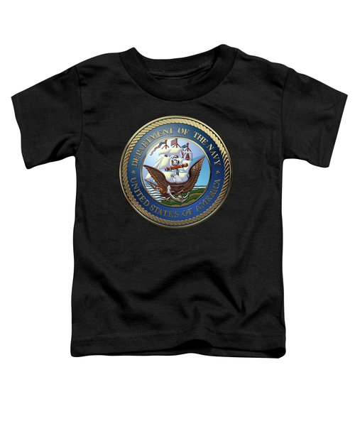 U. S.  Navy  -  U S N Emblem Over Black Velvet Toddler T-Shirt