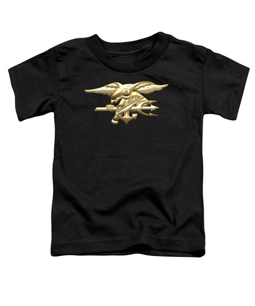 U. S. Navy S E A Ls Emblem On Black Velvet Toddler T-Shirt