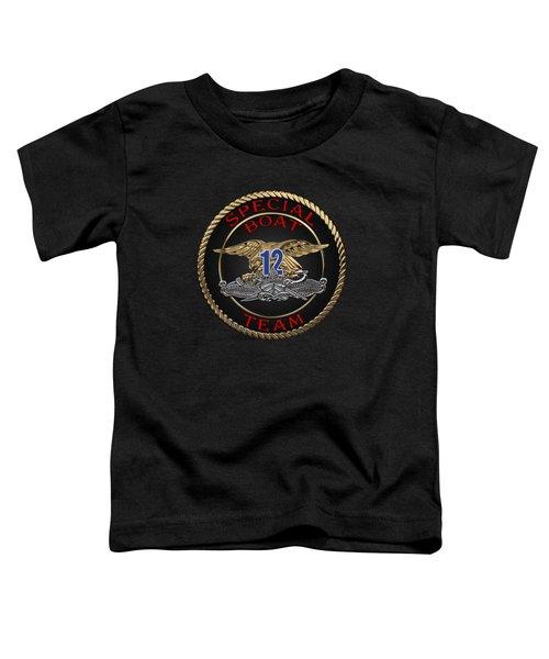 U. S. Navy S W C C - Special Boat Team 12   -  S B T 12  Patch Over Black Velvet Toddler T-Shirt by Serge Averbukh