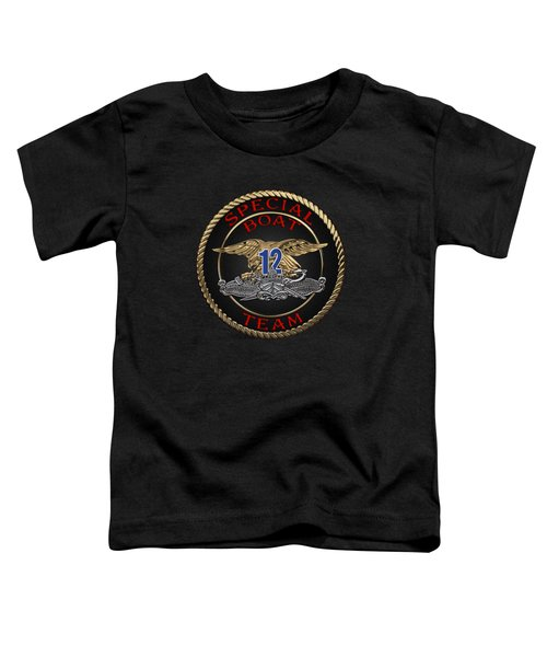 U. S. Navy S W C C - Special Boat Team 12   -  S B T 12  Patch Over Black Velvet Toddler T-Shirt