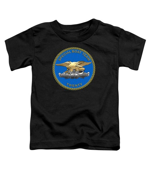 U. S. Navy S W C C - Special Boat Team 20   -  S B T 20   Patch Over Black Velvet Toddler T-Shirt