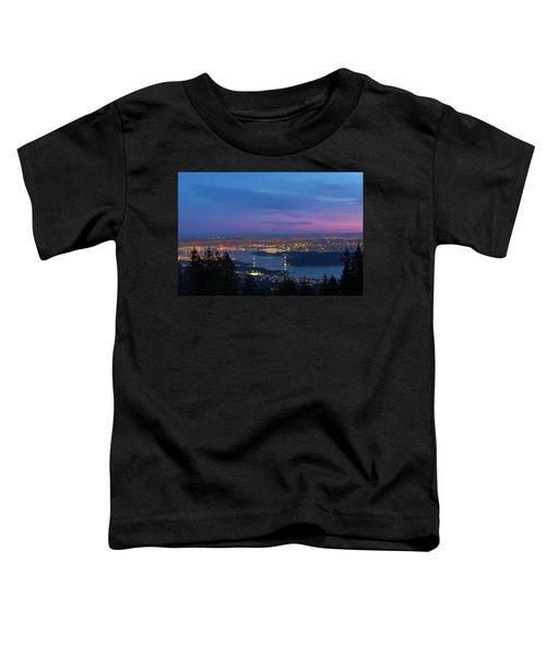 Vancouver Bc Cityscape Lions Gate Bridge Sunset Toddler T-Shirt