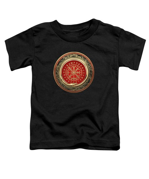 Vegvisir - A Gold Magic Viking Runic Compass On Black Leather Toddler T-Shirt