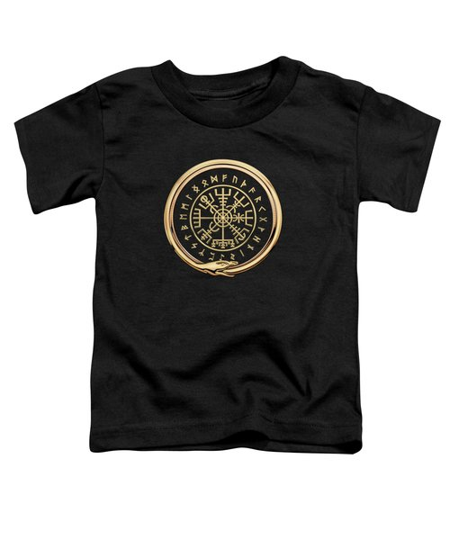 Vegvisir - A Magic Icelandic Viking Runic Compass - Gold On Black Toddler T-Shirt
