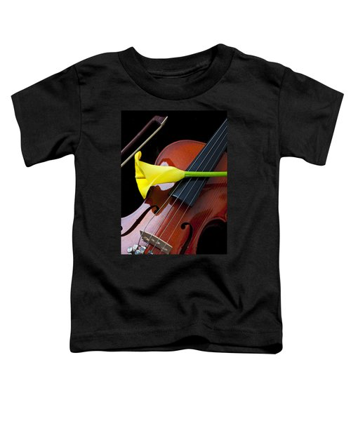 Violin With Yellow Calla Lily Toddler T-Shirt