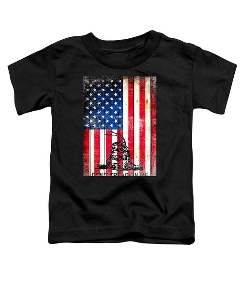 Viper On American Flag On Old Wood Planks Vertical Toddler T-Shirt
