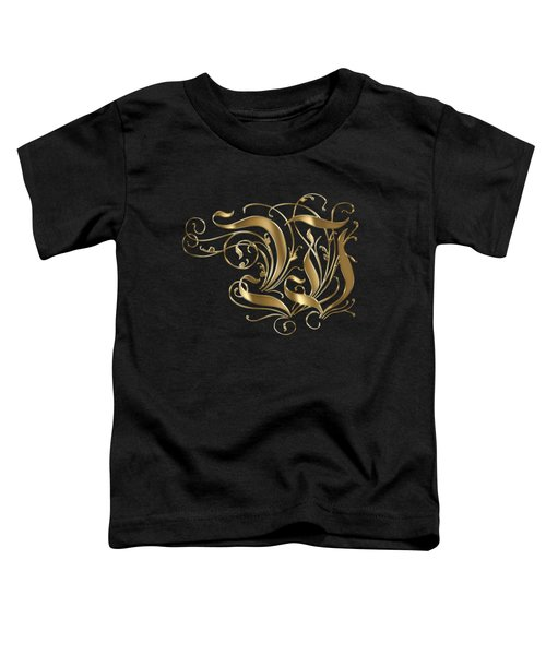 W Golden Ornamental Letter Typography Toddler T-Shirt