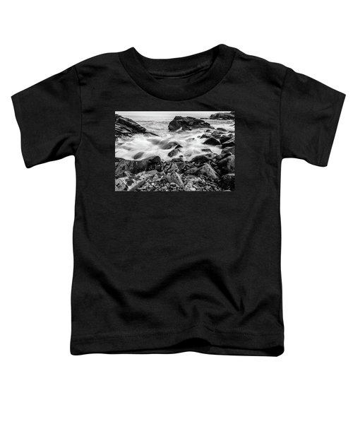Waves Against A Rocky Shore In Bw Toddler T-Shirt